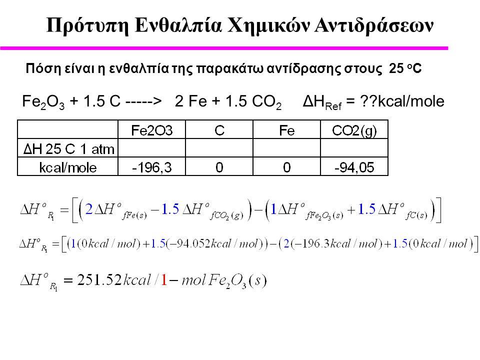 Πρότυπη Ενθαλπία Χημικών Αντιδράσεων Πόση είναι η ενθαλπία της παρακάτω αντίδρασης στους 25 ο C Fe 2 O 3 + 1.5 C -----> 2 Fe + 1.5 CO 2 ΔH Ref = ??kcal/mole