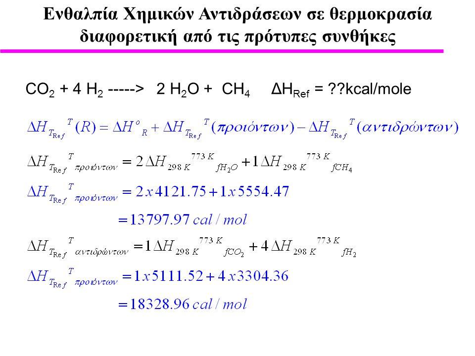 Ενθαλπία Χημικών Αντιδράσεων σε θερμοκρασία διαφορετική από τις πρότυπες συνθήκες CO 2 + 4 H 2 -----> 2 H 2 O + CH 4 ΔH Ref = ??kcal/mole