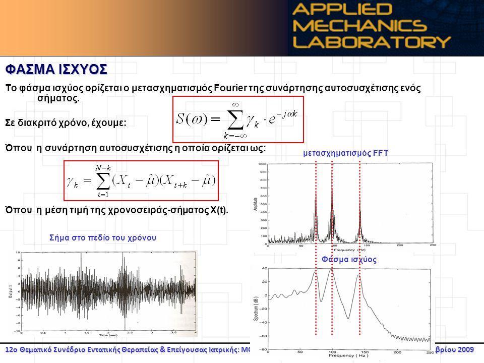 12ο Θεματικό Συνέδριο Εντατικής Θεραπείας & Επείγουσας Ιατρικής: MONITORING Αθήνα, 27 Νοεμβρίου 2009 ΦΑΣΜΑ ΙΣΧΥΟΣ Το φάσμα ισχύος ορίζεται ο μετασχηματισμός Fourier της συνάρτησης αυτοσυσχέτισης ενός σήματος.