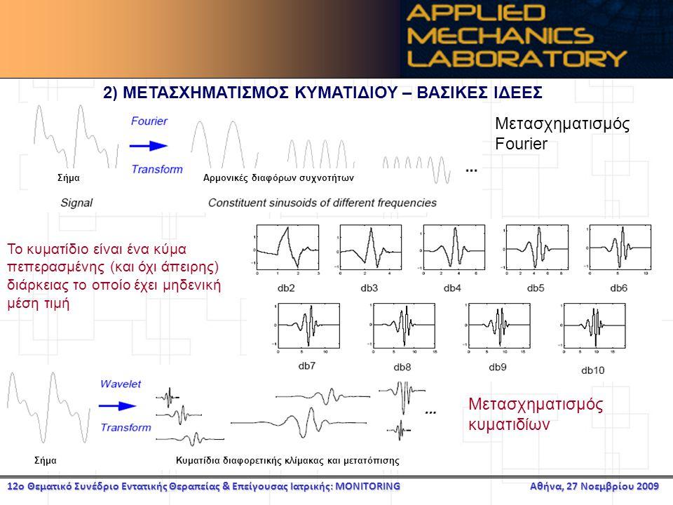 12ο Θεματικό Συνέδριο Εντατικής Θεραπείας & Επείγουσας Ιατρικής: MONITORING Αθήνα, 27 Νοεμβρίου 2009 2) ΜΕΤΑΣΧΗΜΑΤΙΣΜΟΣ ΚΥΜΑΤΙΔΙΟΥ – ΒΑΣΙΚΕΣ ΙΔΕΕΣ Αρμονικές διαφόρων συχνοτήτωνΣήμα Μετασχηματισμός Fourier Κυματίδια διαφορετικής κλίμακας και μετατόπισηςΣήμα Μετασχηματισμός κυματιδίων Το κυματίδιο είναι ένα κύμα πεπερασμένης (και όχι άπειρης) διάρκειας το οποίο έχει μηδενική μέση τιμή