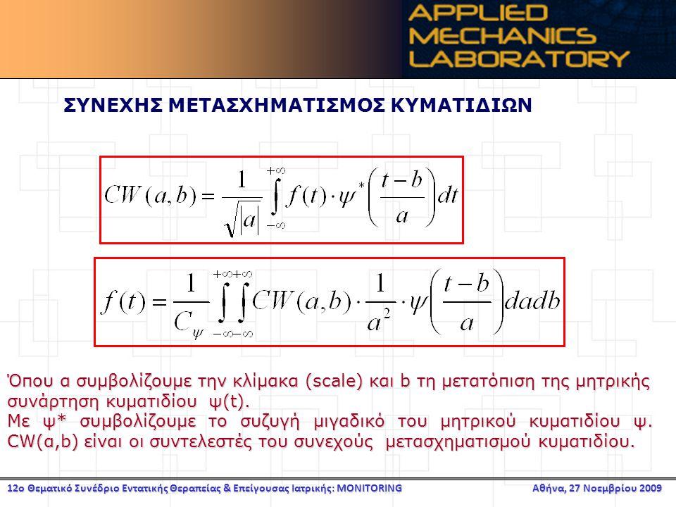 12ο Θεματικό Συνέδριο Εντατικής Θεραπείας & Επείγουσας Ιατρικής: MONITORING Αθήνα, 27 Νοεμβρίου 2009 ΣΥΝΕΧΗΣ ΜΕΤΑΣΧΗΜΑΤΙΣΜΟΣ ΚΥΜΑΤΙΔΙΩΝ Όπου α συμβολίζουμε την κλίμακα (scale) και b τη μετατόπιση της μητρικής συνάρτηση κυματιδίου ψ(t).