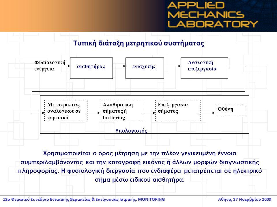 12ο Θεματικό Συνέδριο Εντατικής Θεραπείας & Επείγουσας Ιατρικής: MONITORING Αθήνα, 27 Νοεμβρίου 2009 Τυπική διάταξη μετρητικού συστήματος Χρησιμοποιείται ο όρος μέτρηση με την πλέον γενικευμένη έννοια συμπεριλαμβάνοντας και την καταγραφή εικόνας ή άλλων μορφών διαγνωστικής πληροφορίας.