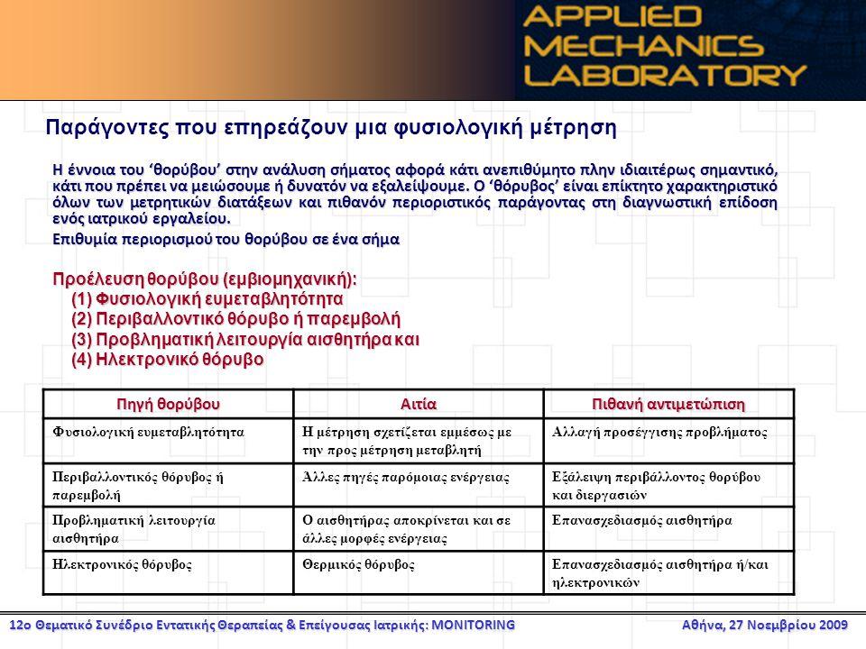 12ο Θεματικό Συνέδριο Εντατικής Θεραπείας & Επείγουσας Ιατρικής: MONITORING Αθήνα, 27 Νοεμβρίου 2009 Παράγοντες που επηρεάζουν μια φυσιολογική μέτρηση Η έννοια του 'θορύβου' στην ανάλυση σήματος αφορά κάτι ανεπιθύμητο πλην ιδιαιτέρως σημαντικό, κάτι που πρέπει να μειώσουμε ή δυνατόν να εξαλείψουμε.