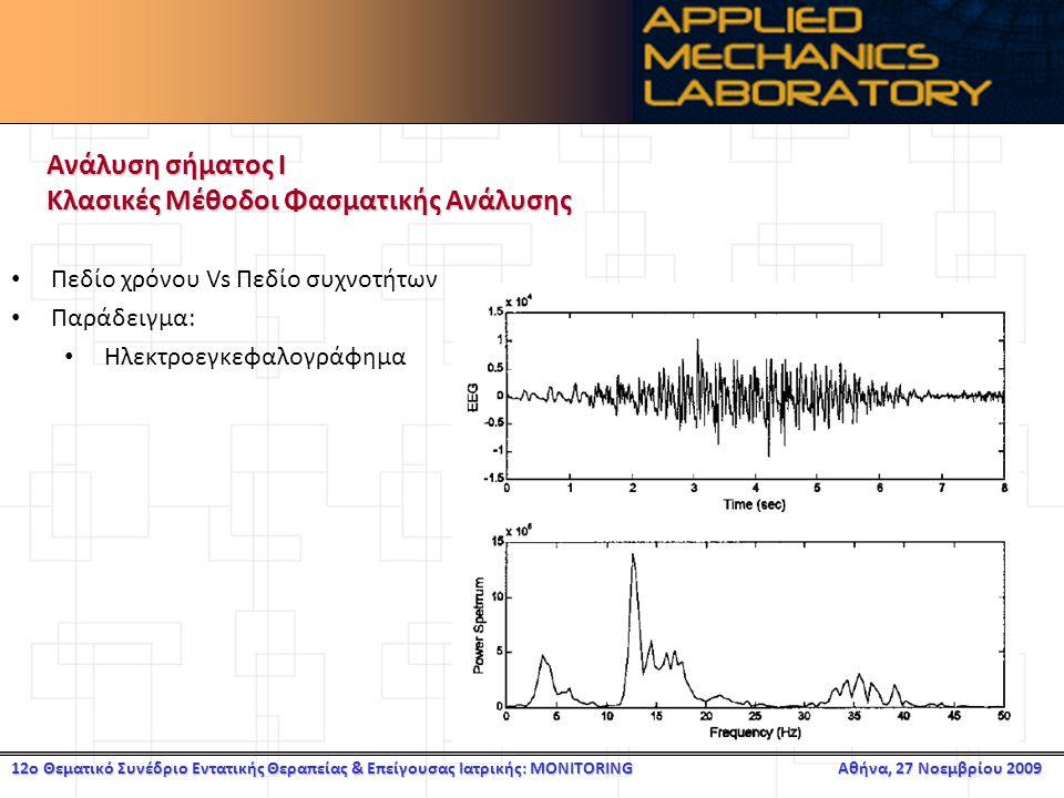 12ο Θεματικό Συνέδριο Εντατικής Θεραπείας & Επείγουσας Ιατρικής: MONITORING Αθήνα, 27 Νοεμβρίου 2009 Ανάλυση σήματος Ι Κλασικές Μέθοδοι Φασματικής Ανάλυσης Πεδίο χρόνου Vs Πεδίο συχνοτήτων Παράδειγμα: Ηλεκτροεγκεφαλογράφημα