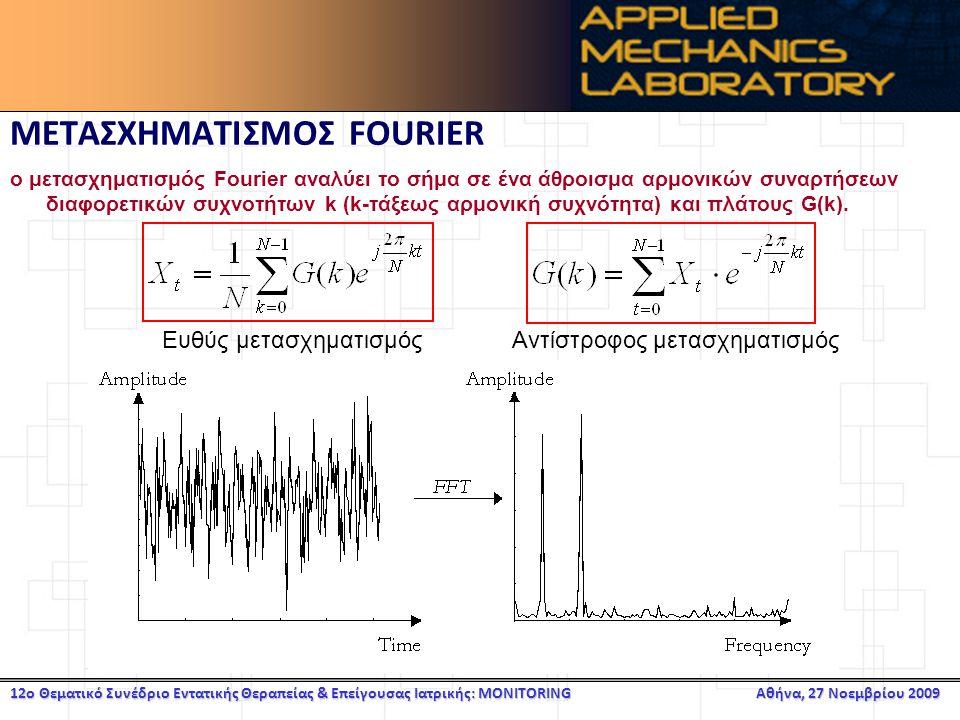 12ο Θεματικό Συνέδριο Εντατικής Θεραπείας & Επείγουσας Ιατρικής: MONITORING Αθήνα, 27 Νοεμβρίου 2009 ΜΕΤΑΣΧΗΜΑΤΙΣΜΟΣ FOURIER ο μετασχηματισμός Fourier αναλύει το σήμα σε ένα άθροισμα αρμονικών συναρτήσεων διαφορετικών συχνοτήτων k (k-τάξεως αρμονική συχνότητα) και πλάτους G(k).