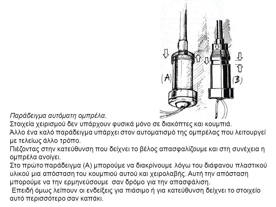 Παράδειγμα αυτόματη ομπρέλα. Στοιχεία χειρισμού δεν υπάρχουν φυσικά μόνο σε διακόπτες και κουμπιά. Άλλο ένα καλό παράδειγμα υπάρχει στον αυτοματισμό τ
