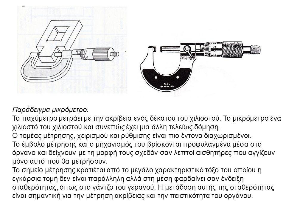 Παράδειγμα μικρόμετρο. Το παχύμετρο μετράει με την ακρίβεια ενός δέκατου του χιλιοστού. Το μικρόμετρο ένα χιλιοστό του χιλιοστού και συνεπώς έχει μια
