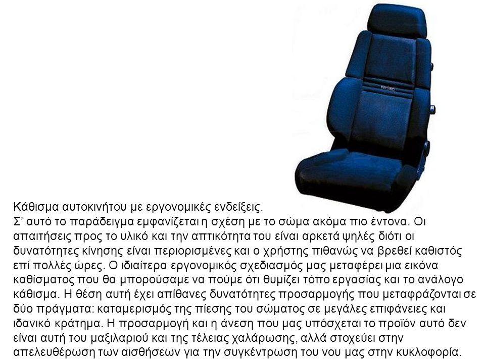 Κάθισμα αυτοκινήτου με εργονομικές ενδείξεις. Σ' αυτό το παράδειγμα εμφανίζεται η σχέση με το σώμα ακόμα πιο έντονα. Οι απαιτήσεις προς το υλικό και τ