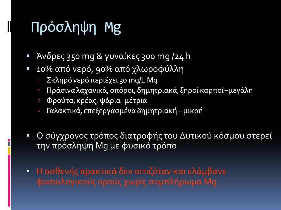 Πρόσληψη Mg  Άνδρες 350 mg & γυναίκες 300 mg /24 h  10% από νερό, 90% από χλωροφύλλη  Σκληρό νερό περιέχει 30 mg/L Mg  Πράσινα λαχανικά, σπόροι, δημητριακά, ξηροί καρποί –μεγάλη  Φρούτα, κρέας, ψάρια- μέτρια  Γαλακτικά, επεξεργασμένα δημητριακή – μικρή  Ο σύγχρονος τρόπος διατροφής του Δυτικού κόσμου στερεί την πρόσληψη Mg με φυσικό τρόπο  Η ασθενής πρακτικά δεν σιτιζόταν και ελάμβανε φυσιολογικούς ορούς χωρίς συμπλήρωμα Mg