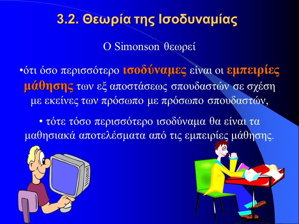 3.2. Θεωρία της Ισοδυναμίας Ο Simonson θεωρεί ισοδύναμεςεμπειρίες μάθησηςότι όσο περισσότερο ισοδύναμες είναι οι εμπειρίες μάθησης των εξ αποστάσεως σ