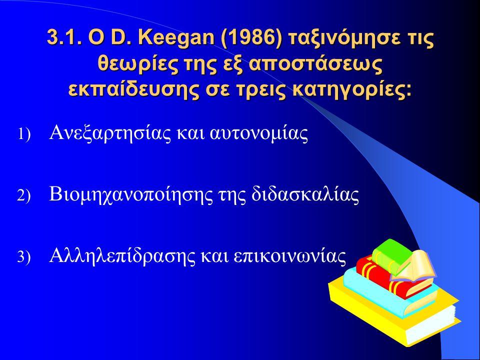 1) Ανεξαρτησία και αυτονομία  Ο διδασκόμενος και ο διδάσκων δεν συνυπάρχουν  Η κανονική διαδικασία της διδασκαλίας και της μάθησης διεκπεραιώνεται μέσω του έντυπου υλικού ή με κάποιο άλλο μέσο  Η διδασκαλία είναι εξατομικευμένη  Η μάθηση είναι το αποτέλεσμα της δραστηριοποίησης του διδασκομένου  Ο διδασκόμενος μαθαίνει στο περιβάλλον του  Ο διδασκόμενος είναι υπεύθυνος για την πρόοδό του α) Θεωρία των Ανεξάρτητων Σπουδών – C.