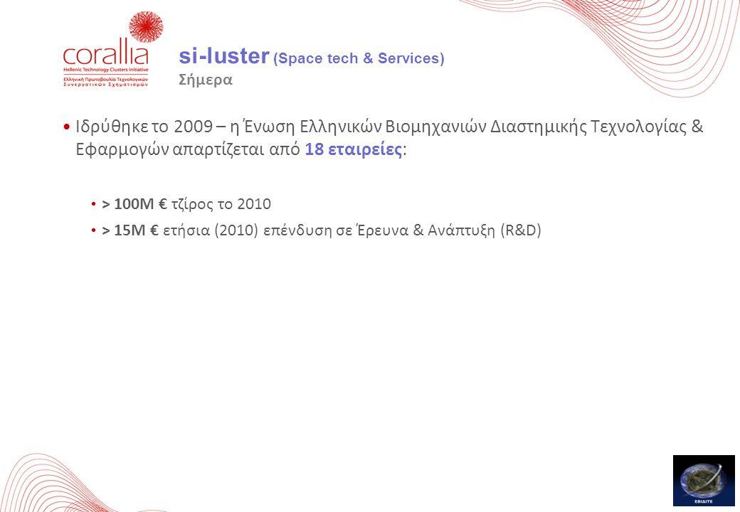 si-luster (Space tech & Services) Σήμερα Ιδρύθηκε το 2009 – η Ένωση Ελληνικών Βιομηχανιών Διαστημικής Τεχνολογίας & Εφαρμογών απαρτίζεται από 18 εταιρ