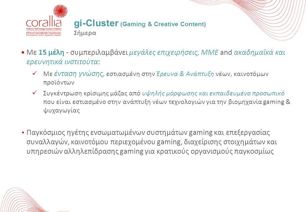 gi-Cluster (Gaming & Creative Content) Σήμερα Με 15 μέλη - συμπεριλαμβάνει μεγάλες επιχειρήσεις, ΜΜΕ and ακαδημαϊκά και ερευνητικά ινστιτούτα: Με έντα
