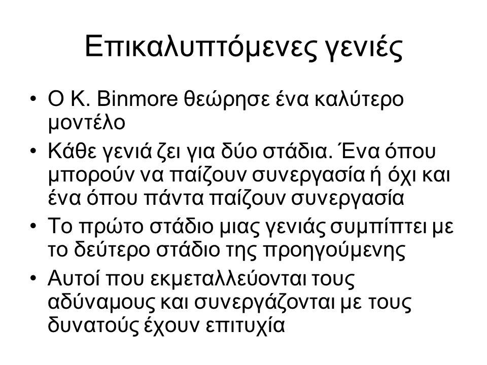 Επικαλυπτόμενες γενιές Ο K. Binmore θεώρησε ένα καλύτερο μοντέλο Κάθε γενιά ζει για δύο στάδια. Ένα όπου μπορoύν να παίζουν συνεργασία ή όχι και ένα ό