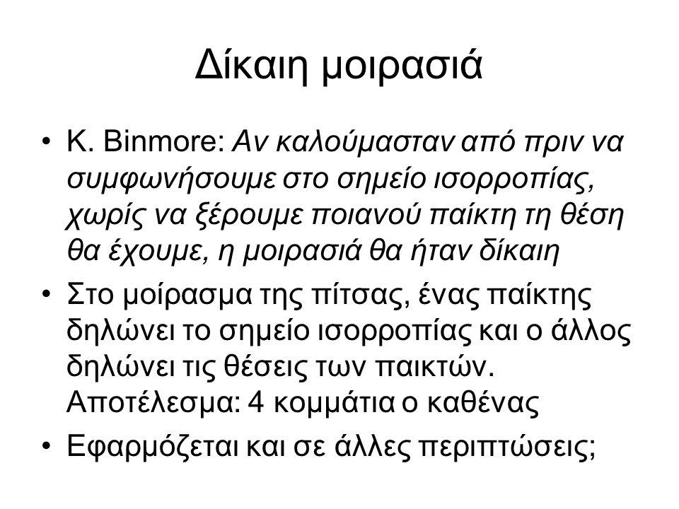 Δίκαιη μοιρασιά K. Binmore: Αν καλούμασταν από πριν να συμφωνήσουμε στο σημείο ισορροπίας, χωρίς να ξέρουμε ποιανού παίκτη τη θέση θα έχουμε, η μοιρασ