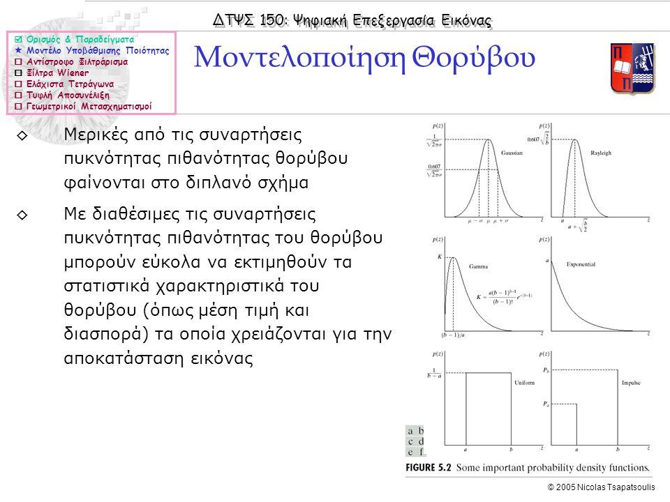ΔΤΨΣ 150: Ψηφιακή Επεξεργασία Εικόνας © 2005 Nicolas Tsapatsoulis ◊Μερικές από τις συναρτήσεις πυκνότητας πιθανότητας θορύβου φαίνονται στο διπλανό σχήμα ◊Με διαθέσιμες τις συναρτήσεις πυκνότητας πιθανότητας του θορύβου μπορούν εύκολα να εκτιμηθούν τα στατιστικά χαρακτηριστικά του θορύβου (όπως μέση τιμή και διασπορά) τα οποία χρειάζονται για την αποκατάσταση εικόνας Μοντελοποίηση Θορύβου  Ορισμός & Παραδείγματα  Μοντέλο Υποβάθμισης Ποιότητας  Αντίστροφο Φιλτράρισμα  Φίλτρα Wiener  Ελάχιστα Τετράγωνα  Τυφλή Αποσυνέλιξη  Γεωμετρικοί Μετασχηματισμοί