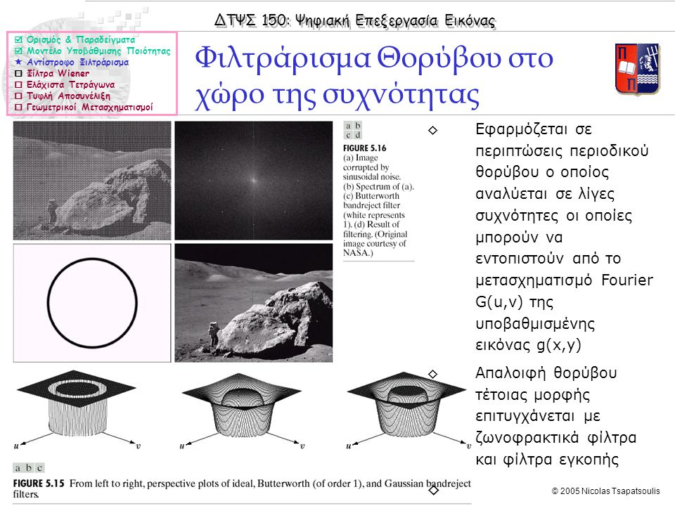 ΔΤΨΣ 150: Ψηφιακή Επεξεργασία Εικόνας © 2005 Nicolas Tsapatsoulis Φιλτράρισμα Θορύβου στο χώρο της συχνότητας  Ορισμός & Παραδείγματα  Μοντέλο Υποβά