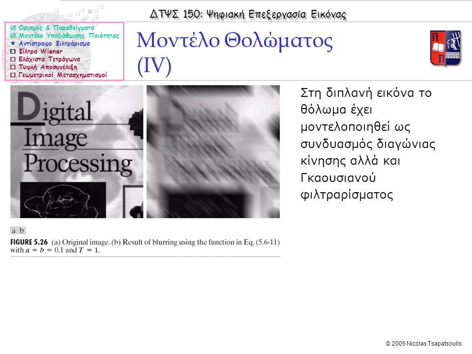 ΔΤΨΣ 150: Ψηφιακή Επεξεργασία Εικόνας © 2005 Nicolas Tsapatsoulis Μοντέλο Θολώματος (IV)  Ορισμός & Παραδείγματα  Μοντέλο Υποβάθμισης Ποιότητας  Αν