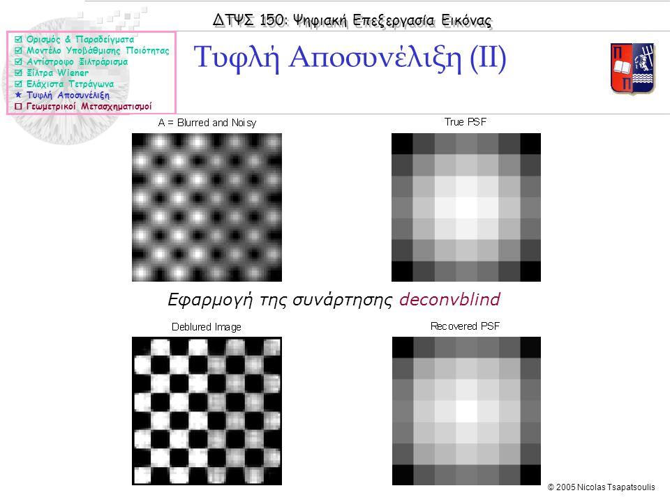 ΔΤΨΣ 150: Ψηφιακή Επεξεργασία Εικόνας © 2005 Nicolas Tsapatsoulis Τυφλή Αποσυνέλιξη (ΙΙ)  Ορισμός & Παραδείγματα  Μοντέλο Υποβάθμισης Ποιότητας  Αν