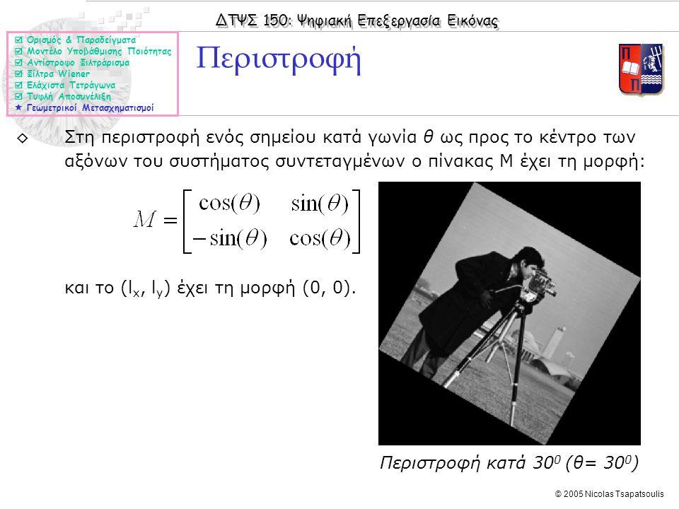 ΔΤΨΣ 150: Ψηφιακή Επεξεργασία Εικόνας © 2005 Nicolas Tsapatsoulis ◊Στη περιστροφή ενός σημείου κατά γωνία θ ως προς το κέντρο των αξόνων του συστήματο