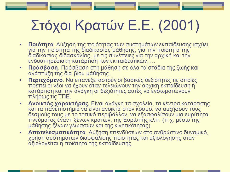Στόχοι Κρατών Ε.Ε. (2001) Ποιότητα.