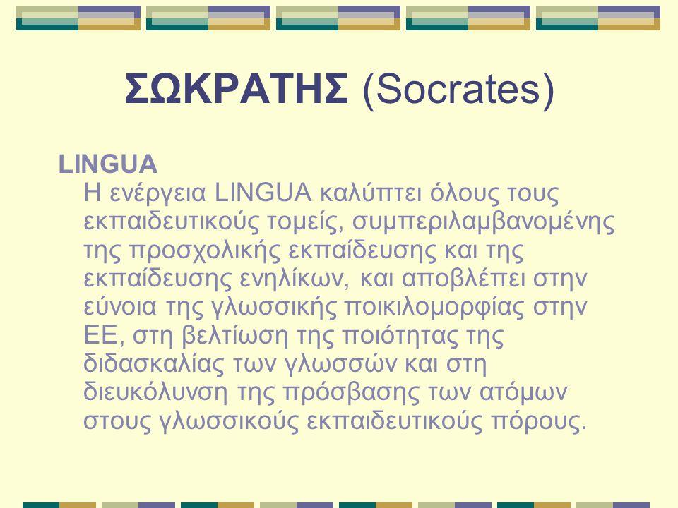 ΣΩΚΡΑΤΗΣ (Socrates) LINGUA Η ενέργεια LINGUA καλύπτει όλους τους εκπαιδευτικούς τομείς, συμπεριλαμβανομένης της προσχολικής εκπαίδευσης και της εκπαίδευσης ενηλίκων, και αποβλέπει στην εύνοια της γλωσσικής ποικιλομορφίας στην ΕΕ, στη βελτίωση της ποιότητας της διδασκαλίας των γλωσσών και στη διευκόλυνση της πρόσβασης των ατόμων στους γλωσσικούς εκπαιδευτικούς πόρους.