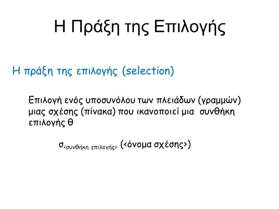 σ θ ( ) Επιλογή ενός υποσυνόλου των πλειάδων μιας σχέσης που ικανοποιεί μια συνθήκη επιλογής θ =, >, <, , ,  συνδυασμένες με AND, OR, NOT ή προτάσεις της μορφής συνθήκη θ Η Πράξη της Επιλογής