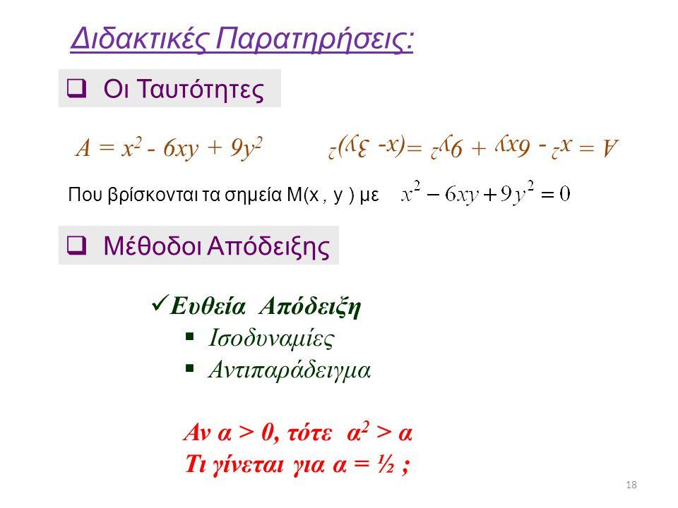 Διδακτικές Παρατηρήσεις:  Οι Ταυτότητες A = x 2 - 6xy + 9y 2 A = x 2 - 6xy + 9y 2 =(x- 3y) 2  Μέθοδοι Απόδειξης 18 Ευθεία Απόδειξη  Ισοδυναμίες  Α