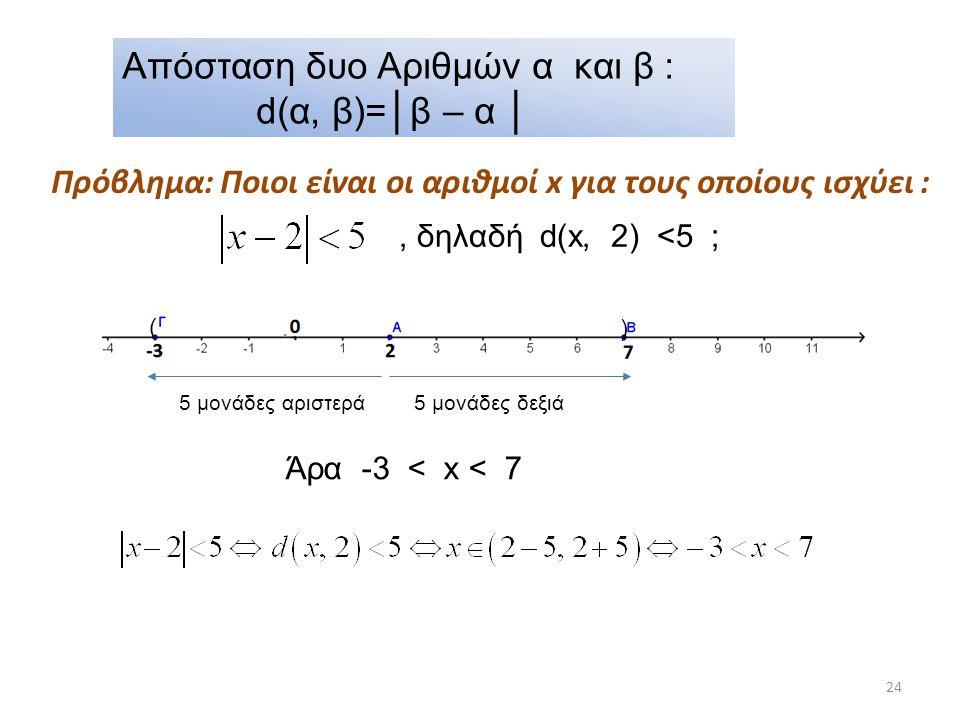 24 Απόσταση δυο Αριθμών α και β : d(α, β)=│β – α │ Πρόβλημα: Ποιοι είναι οι αριθμοί x για τους οποίους ισχύει : 5 μονάδες δεξιά5 μονάδες αριστερά ( )