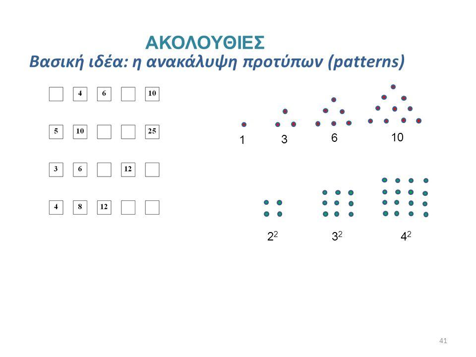 41 ΑΚΟΛΟΥΘΙΕΣ Βασική ιδέα: η ανακάλυψη προτύπων (patterns) 1 3 6 10 2 3232 4242