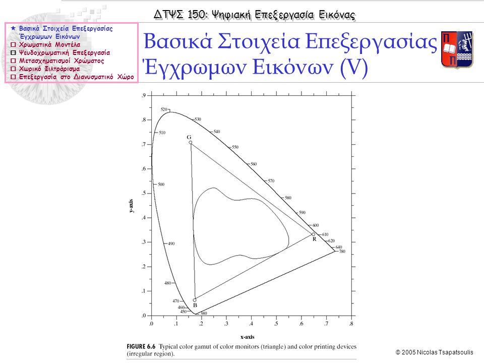 ΔΤΨΣ 150: Ψηφιακή Επεξεργασία Εικόνας © 2005 Nicolas Tsapatsoulis Βασικά Στοιχεία Επεξεργασίας Έγχρωμων Εικόνων (V)  Βασικά Στοιχεία Επεξεργασίας Έγχ