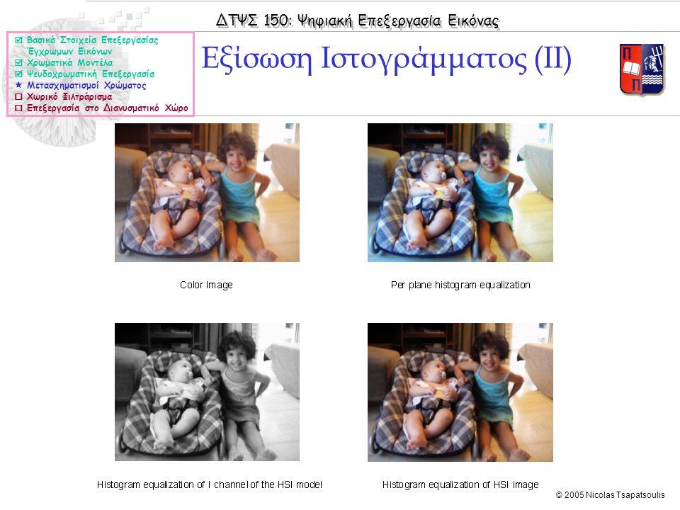 ΔΤΨΣ 150: Ψηφιακή Επεξεργασία Εικόνας © 2005 Nicolas Tsapatsoulis Εξίσωση Ιστογράμματος (ΙΙ)  Βασικά Στοιχεία Επεξεργασίας Έγχρωμων Εικόνων  Χρωματι