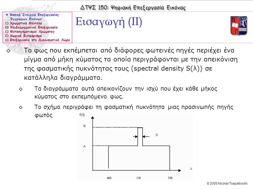 ΔΤΨΣ 150: Ψηφιακή Επεξεργασία Εικόνας © 2005 Nicolas Tsapatsoulis ◊Η κατεύθυνση κατά την οποία η μέγιστη κλίση λαμβάνει χώρα δίνεται από τη τιμή της γωνίας: ◊Στη περίπτωση που η συνάρτηση f(x,y) δεν είναι συνεχής, όπως συμβαίνει με τις ψηφιακές εικόνες, η κλίση της εικόνας υπολογίζεται με τη βοήθεια των τελεστών Sobel: οι οποίοι εφαρμόζονται επαναληπτικά σε κάθε pixel της εικόνας για τον υπολογισμό της μεταβολής της φωτεινότητας στην κάθετη και οριζόντια κατεύθυνση αντίστοιχα.