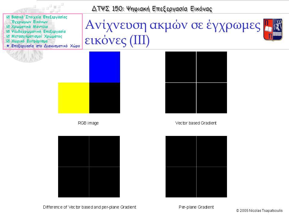 ΔΤΨΣ 150: Ψηφιακή Επεξεργασία Εικόνας © 2005 Nicolas Tsapatsoulis Ανίχνευση ακμών σε έγχρωμες εικόνες (ΙΙΙ)  Βασικά Στοιχεία Επεξεργασίας Έγχρωμων Ει