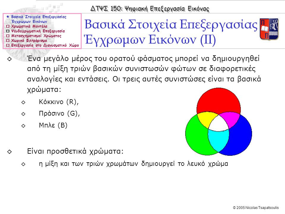 ΔΤΨΣ 150: Ψηφιακή Επεξεργασία Εικόνας © 2005 Nicolas Tsapatsoulis Συμπλήρωμα (αρνητικό) εικόνας  Βασικά Στοιχεία Επεξεργασίας Έγχρωμων Εικόνων  Χρωματικά Μοντέλα  Ψευδοχρωματική Επεξεργασία  Μετασχηματισμοί Χρώματος  Χωρικό Φιλτράρισμα  Επεξεργασία στο Διανυσματικό Χώρο ◊Για RGB εικόνες πραγματοποιείται μέσω του μετασχηματισμού: ◊s=L-1-r, L = ένταση χρώματος σε κάθε χρωματικό κανάλι ◊Εντολή imcomplement στη Matlab