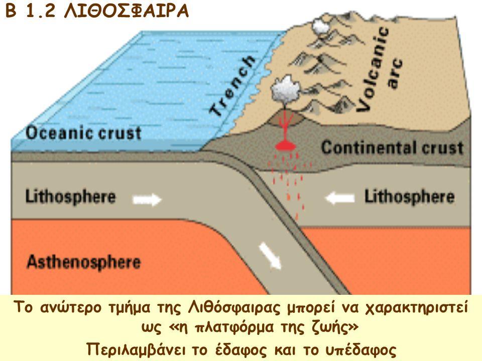 B 1.2 ΛΙΘΟΣΦΑΙΡΑ Το ανώτερο τμήμα της Λιθόσφαιρας μπορεί να χαρακτηριστεί ως «η πλατφόρμα της ζωής» Περιλαμβάνει το έδαφος και το υπέδαφος