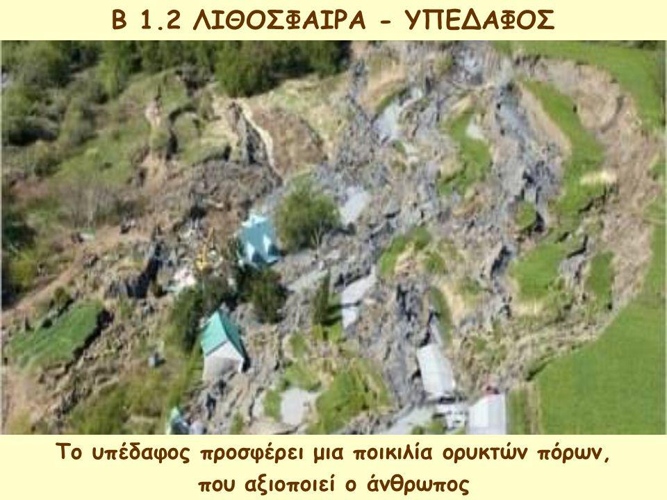 B 1.2 ΒΙΟΣΦΑΙΡΑ Είναι ο χώρος μέσα στον οποίο ζουν, τρέφονται, αναπτύσσονται και αναπαράγονται όλοι οι οργανισμοί της γης Περιλαμβάνει τμήμα της ατμόσφαιρας, της υδρόσφαιρας και της λιθόσφαιρας Ο άνθρωπος ως οργανισμός που ζει στη βιόσφαιρα, είναι εκείνος που παρεμβαίνει περισσότερο από τους άλλους οργανισμούς,ώστε να καλύψει τις ανάγκες του