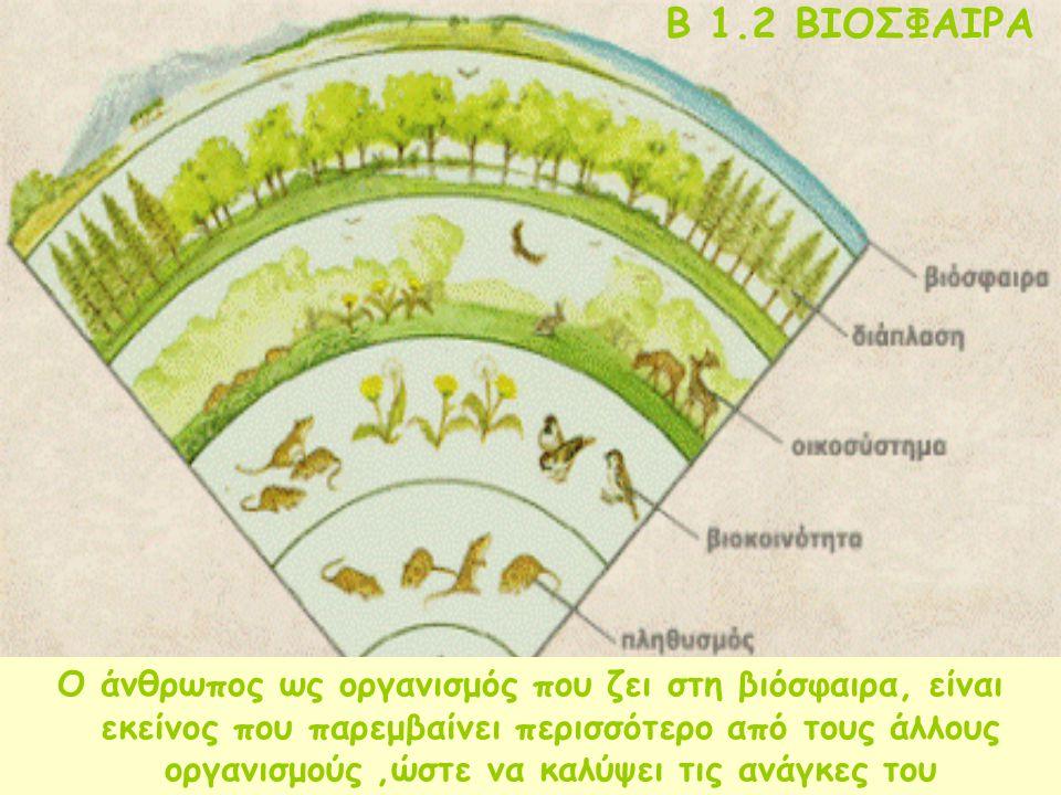 B 1.2 ΒΙΟΣΦΑΙΡΑ Είναι ο χώρος μέσα στον οποίο ζουν, τρέφονται, αναπτύσσονται και αναπαράγονται όλοι οι οργανισμοί της γης Περιλαμβάνει τμήμα της ατμόσ