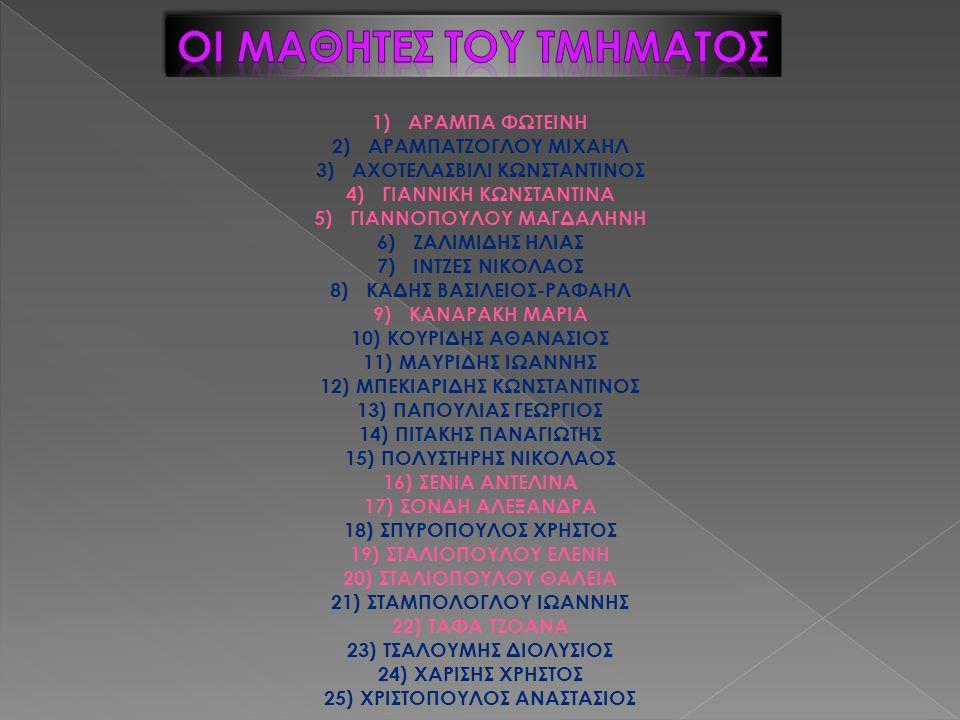 1)ΑΡΑΜΠΑ ΦΩΤΕΙΝΗ 2)ΑΡΑΜΠΑΤΖΟΓΛΟΥ ΜΙΧΑΗΛ 3)ΑΧΟΤΕΛΑΣΒΙΛΙ ΚΩΝΣΤΑΝΤΙΝΟΣ 4)ΓΙΑΝΝΙΚΗ ΚΩΝΣΤΑΝΤΙΝΑ 5)ΓΙΑΝΝΟΠΟΥΛΟΥ ΜΑΓΔΑΛΗΝΗ 6)ΖΑΛΙΜΙΔΗΣ ΗΛΙΑΣ 7)ΙΝΤΖΕΣ ΝΙΚΟΛΑΟ
