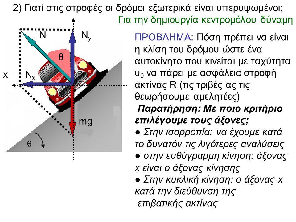 2) Γιατί στις στροφές οι δρόμοι εξωτερικά είναι υπερυψωμένοι; Για την δημιουργία κεντρομόλου δύναμη Ν mg NxNx x NyNy ΠΡΟΒΛΗΜΑ: Πόση πρέπει να είναι η