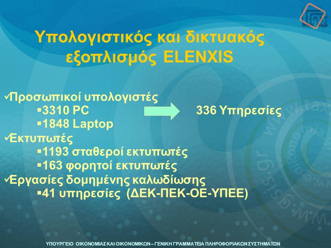ΥΠΟΥΡΓΕΙΟ ΟΙΚΟΝΟΜΙΑΣ ΚΑΙ ΟΙΚΟΝΟΜΙΚΩΝ – ΓΕΝΙΚΗ ΓΡΑΜΜΑΤΕΙΑ ΠΛΗΡΟΦΟΡΙΑΚΩΝ ΣΥΣΤΗΜΑΤΩΝ Προσωπικοί υπολογιστές  3310 PC 336 Υπηρεσίες  1848 Laptop Εκτυπωτ