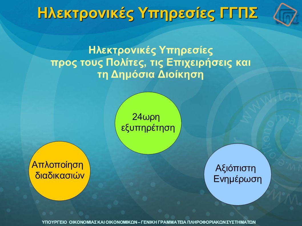 ΥΠΟΥΡΓΕΙΟ ΟΙΚΟΝΟΜΙΑΣ ΚΑΙ ΟΙΚΟΝΟΜΙΚΩΝ – ΓΕΝΙΚΗ ΓΡΑΜΜΑΤΕΙΑ ΠΛΗΡΟΦΟΡΙΑΚΩΝ ΣΥΣΤΗΜΑΤΩΝ Το Έργο της ΓΓΠΣ  Ανάπτυξη και παραγωγική λειτουργία των συστημάτων του Υπουργείου Οικονομίας και Οικονομικών,  TAXIS (φορολογία),  TaxisNet (υπηρεσίες μέσω Internet)  ICIS (τελωνεία)  Λοιπά συστήματα  Παρέχει τις περισσότερες έως σήμερα διαθέσιμες ηλεκτρονικές υπηρεσίες:  στον πολίτη (G2C-Government to Citizen),  τις επιχειρήσεις (G2B-Government to Business)  λοιποί κυβερνητικοί φορείς (G2G-Government to Government).