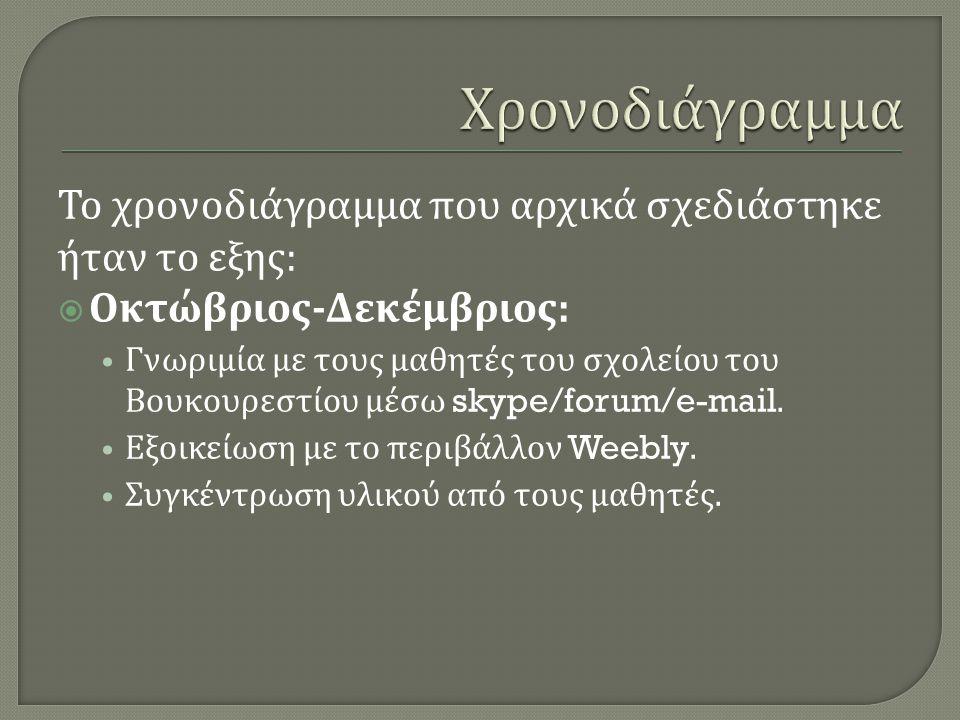 Το χρονοδιάγραμμα που αρχικά σχεδιάστηκε ήταν το εξης :  Οκτώβριος - Δεκέμβριος : Γνωριμία με τους μαθητές του σχολείου του Βουκουρεστίου μέσω skype/forum/e-mail.