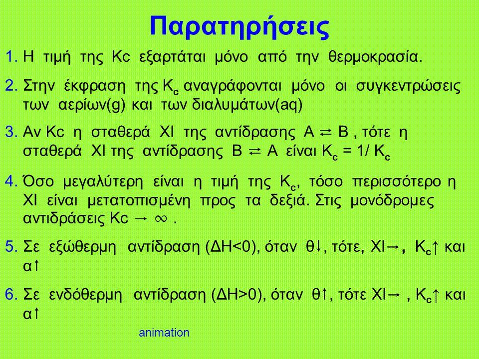 Σταθερά χημικής ισορροπίας Κc Έστω η αντίδραση η οποία είναι απλή και προς τις δυο κατευθύνσεις. Στην κατάσταση Χ.Ι. ισχύει: Οι μονάδες της Κc είναι Μ