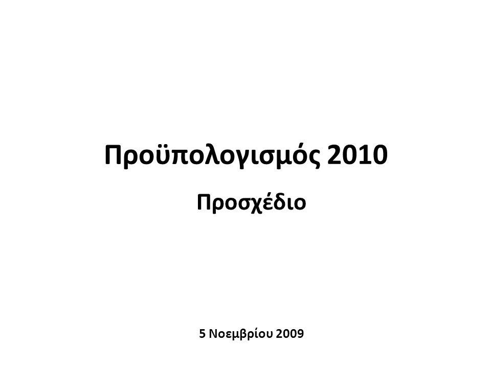 Σημεία παρουσίασης 1.Πλαίσιο διαμόρφωσης Προϋπολογισμού 2010 2.Βασικά μεγέθη της οικονομίας 3.Εκτέλεση Προϋπολογισμού 2009 4.Προϋπολογισμός 2010 2