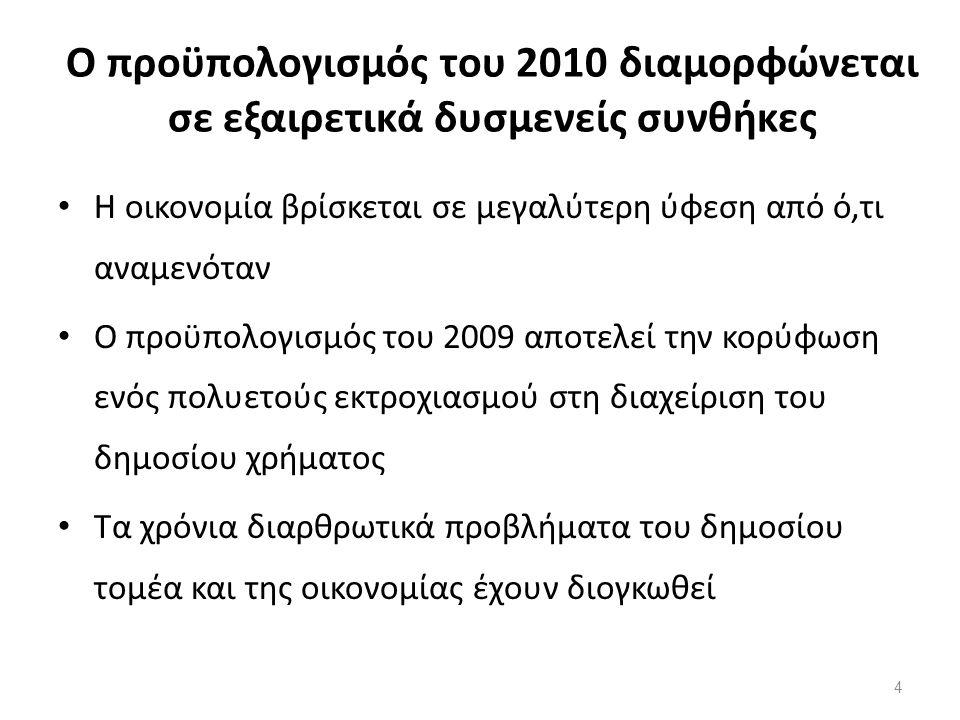 Ο προϋπολογισμός του 2010 διαμορφώνεται σε εξαιρετικά δυσμενείς συνθήκες Η οικονομία βρίσκεται σε μεγαλύτερη ύφεση από ό,τι αναμενόταν Ο προϋπολογισμός του 2009 αποτελεί την κορύφωση ενός πολυετούς εκτροχιασμού στη διαχείριση του δημοσίου χρήματος Τα χρόνια διαρθρωτικά προβλήματα του δημοσίου τομέα και της οικονομίας έχουν διογκωθεί 4