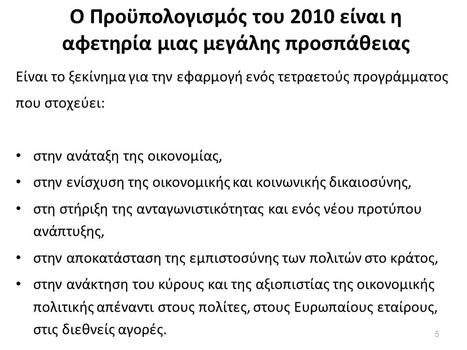 Ο Προϋπολογισμός του 2010: Βάζει τις βάσεις για την ανάταξη της οικονομίας Στηρίζει την αναδιανομή Σταματά τη δημοσιονομική κατηφόρα της χώρας Υλοποιεί τις δεσμεύσεις μας Στηρίζει τις αναπτυξιακές και κοινωνικές μας προτεραιότητες Ενισχύει τη διαφάνεια Σέβεται τα χρήματα του Έλληνα πολίτη Η υλοποίησή του αφορά όλους μας