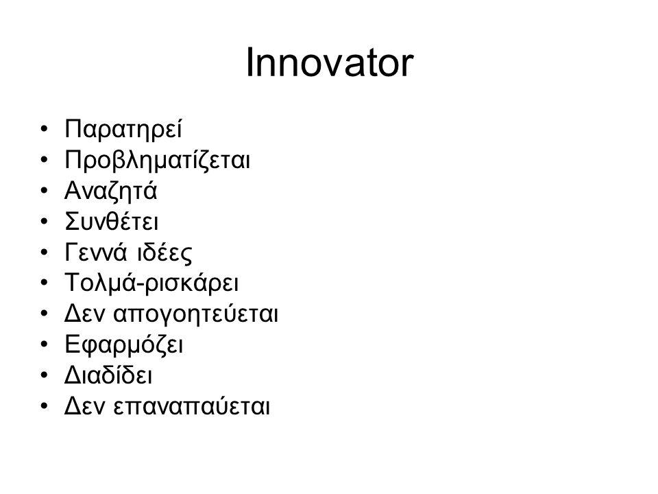 Innovator Παρατηρεί Προβληματίζεται Αναζητά Συνθέτει Γεννά ιδέες Τολμά-ρισκάρει Δεν απογοητεύεται Εφαρμόζει Διαδίδει Δεν επαναπαύεται