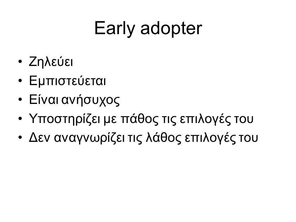 Early adopter Ζηλεύει Εμπιστεύεται Είναι ανήσυχος Υποστηρίζει με πάθος τις επιλογές του Δεν αναγνωρίζει τις λάθος επιλογές του