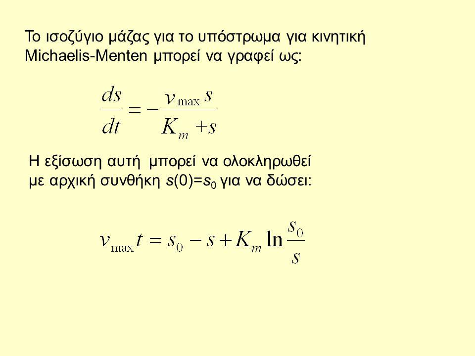 Το ισοζύγιο μάζας για το υπόστρωμα για κινητική Michaelis-Menten μπορεί να γραφεί ως: Η εξίσωση αυτή μπορεί να ολοκληρωθεί με αρχική συνθήκη s(0)=s 0